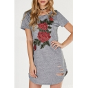 Womens Hot Fashion Rose Embroidered Short Sleeve Round Neck Hollow Out Split Side Mini T-Shirt Dress