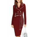 Womens Hot Fashion Claret Lapel Collar Long Sleeve Button Front Midi Blazer Dress
