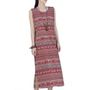 Womens Hot Popular Tribal Print Sleeveless Split Side Maxi Shift Tank Dress