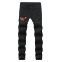 Men's Popular Fashion Rose Embroidery Pattern Black Ripped Jeans