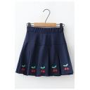 Summer Sweet Trendy Elastic Waist Cherry Embroidery Pleated Hem Mini Skirt