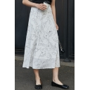 Summer Hot Sale White Chiffon High Elastic Waist Classic Floral Print Maxi Skirt