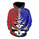 Unique Cool Blue and Red Skull 3D Print Sport Casual Unisex Hoodie