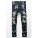 New Stylish Retro Washed Stretch Regular Fit Dark Blue Ripped Jeans for Men