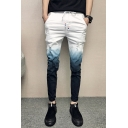Men's New Fashion Colorblock Ombre Printed Drawstring Waist Slim Fit White Jeans