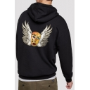 Guys Cool Wing Face Printed Loose Fitted Hoodie