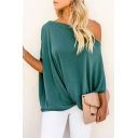 Womens Hip Hop Style Sexy Oblique Shoulder Casual Loose T-Shirt