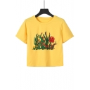 Summer Stylish Cactus Printed Round Neck Short Sleeve Yellow Crop Tee