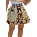 Stylish Womens Tribal Print Elastic Waist Mini Pleated Skirt