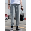 Guys Simple Fashion Solid Color Side Cut Relaxed Fit Light Blue Straight Jeans