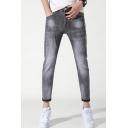 Men's Popular Fashion Denim Washed Letter Printed Grey Slim Jeans