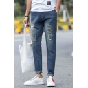 Guys New Stylish Printed Patched Regular Fit Blue Ripped Jeans