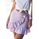 Womens Fashion Polka Dot Print Tie Side Mini Summer Wrap Skirt
