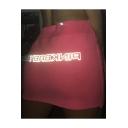 Summer Hot Stylish High Waist Pink Reflective Light Fitted Mini Skirt