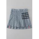 Womens Hot Fashion High Waist Striped Print A-Line Pleated Asymmetric Hem Mini Summer Skirt