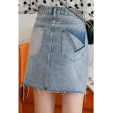Summer New Arrival Blue Fake Pocket Fringe Hem Mini A-Line Denim Skirt