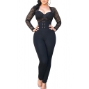 Women Trendy Sexy Black V Neck Long Sleeve Sheer Mesh Patch Lace Up Fitted Jumpsuits