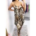 Summer Hot Trendy Straps Sleeveless Leopard Printed Haren Jumpsuits