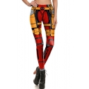 Womens New Stylish Colorbock Death Waiter Printed Elastic Waist Skinny Legging Pants