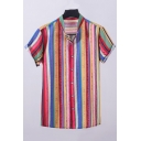 Mens Summer Colorful Stripe Printed Short Sleeve Button Front Casual Shirt