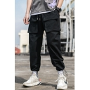 Men's New Stylish Simple Plain Multi-pocket Casual Cotton Drawstring Cargo Pants