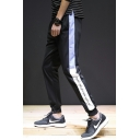 Men's New Stylish Colorblock Patched Side Letter Printed Drawstring Waist Casual Sweatpants Tapered Pants