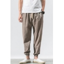 Men's New Fashion Simple Plain Drawstring Waist Elastic Cuffs Loose Linen Tapered Pants