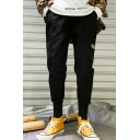 Guys Simple Fashion Letter Label Patched Flap Pocket Side Hip Pop Style Casual Cargo Pants