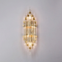 Postmodern Gold Wall Light Tube Clear Crystal Metal Sconce Light for Stair Hotel Kitchen