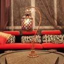 Birdcage Villa Hotel Table Light with Crystal Bead Metal 1 Head Moroccan Stylish Desk Light in Copper Finish