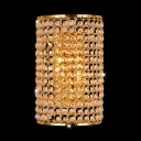 Cylinder Stair Hallway Wall Light Clear Crystal Bead Contemporary Sconce Light in Gold Finish