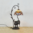 Victorian Ancient Tripod Mouse Table Light Stained Glass 1 Light Night Light for Bedroom