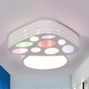 Multi-Color Mushroom Ceiling Mount Light Kids Iron Third Gear/White Lighting LED Ceiling Fixture for Kindergarten