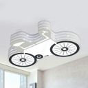 Creative Bicycle Flush Ceiling Light Metal Stepless Dimming/Warm/White LED Ceiling Lamp in White for Teen