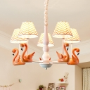 Modern Style Swan Chandelier with Fabric Shade 5 Lights Metal Pendant Light in Blue/Pink/Orange for Kids Bedroom