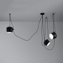 Metal Urn Pendant Light Cloth Shop 1/3 Lights Contemporary Ceiling Light in Black/White