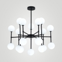 White Orb Shade Chandelier 18/24 Heads Contemporary Milk Glass Hanging Light for Book Shop