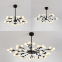 Shop Hotel Branch Hanging Lamp Glass Metal 25/30/45 Bulbs Modern Style Black Chandelier