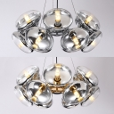 Gold/Silver Drum Chandelier 12 Heads Contemporary Glass Hanging Lamp for Villa Restaurant