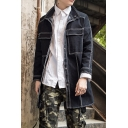 Mens Dark Blue Fashion Contrast Piping Long Sleeve Button Down Longline Denim Jacket Coat