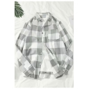 Grey Plaid Pattern Long Sleeve Button Down Casual Loose Cotton Shirt