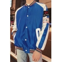 Guys Cool Simple Letter Rib Stand Collar Long Sleeve Button Down Casual Loose Baseball Jacket