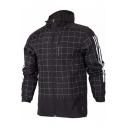 Mens New Stylish Plaid Printed Striped Long Sleeve Hooded Zip Up Sport Coat Jacket