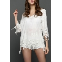 Womens Unique White Tassel Hem V-Neck Beach Cover Up Blouse