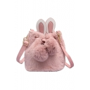 Cute Rabbit Ear Patched Solid Color Plush Crossbody Bucket Bag for Girls 18*17*17 CM