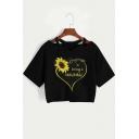 Summer Heart Letter Sunflower Pattern V-Neck Short Sleeve Black Cropped T-Shirt