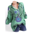 Hot Popular Fashion Tribal Printed Button Front Long Sleeve Casual Loose Shirt Blouse
