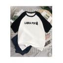 Summer Simple Letter LABRA POP Pattern Raglan Sleeve Loose Fit T-Shirt