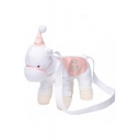 Cute Cartoon White Plush Unicorn Shape Crossbody Bag 30*36*10 CM