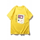 Cute Cartoon Cat Game Console Pattern Round Neck Summer Casual Loose T-Shirt